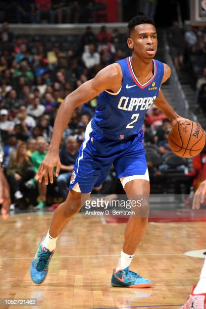 Shai GilgeousAlexander of the LA Clippers handles the ball against the Houston Rockets on October 21 2018 at Staples Center in Los Angeles California...