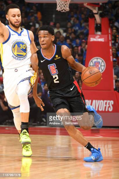 Shai GilgeousAlexander of the LA Clippers handles the ball against the Golden State Warriors in Game Three of Round One of the 2019 NBA Playoffs on...