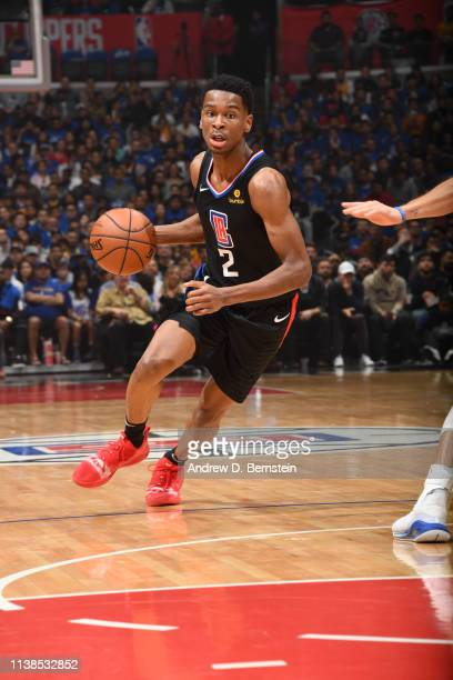 Shai GilgeousAlexander of the LA Clippers handles the ball against the Golden State Warriors during Game Four of Round One of the 2019 NBA Playoffs...