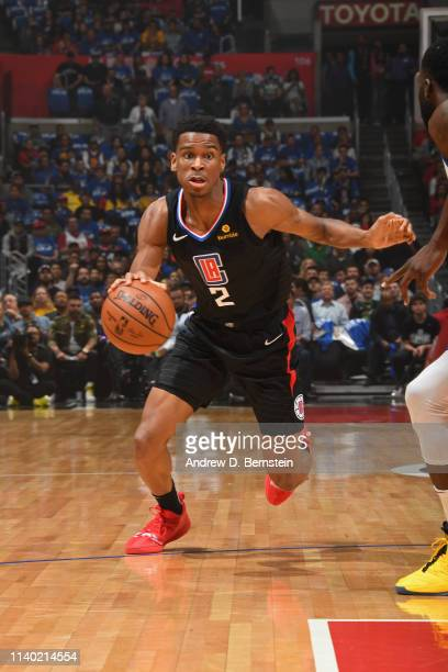 Shai GilgeousAlexander of the LA Clippers handles the ball against the Golden State Warriors during Game Six of Round One of the 2019 NBA Playoffs on...