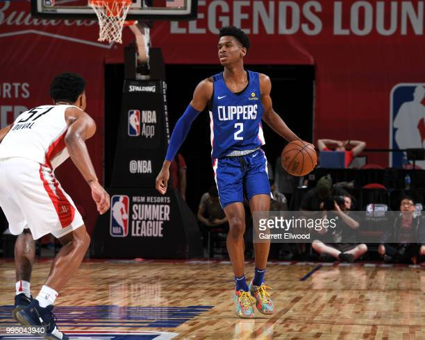 Shai GilgeousAlexander of the LA Clippers handles the ball against the Houston Rockets during the 2018 Las Vegas Summer League on July 9 2018 at the...
