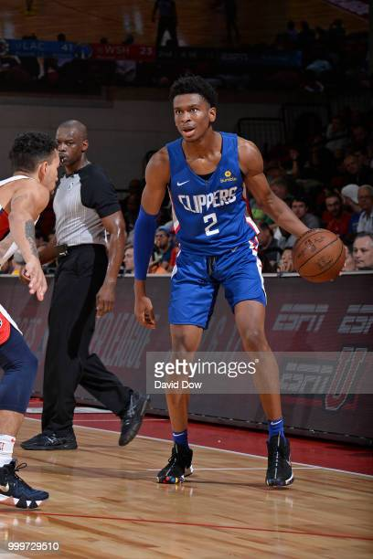 Shai GilgeousAlexander of the LA Clippers handles the ball against the Washington Wizards during the 2018 Las Vegas Summer League on July 11 2018 at...