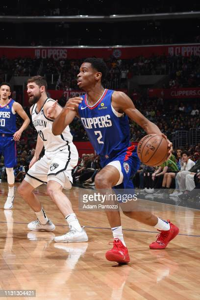 Shai GilgeousAlexander of the LA Clippers handles the ball during the game against the Brooklyn Nets on March 17 2019 at STAPLES Center in Los...