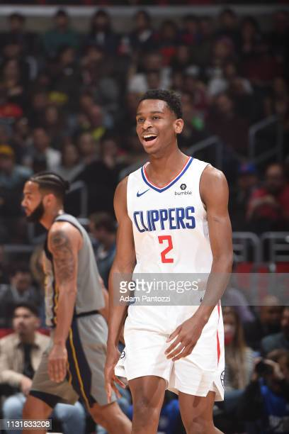 Shai GilgeousAlexander of the LA Clippers looks on during the game against the Indiana Pacers on March 19 2019 at STAPLES Center in Los Angeles...