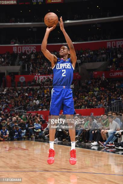 Shai GilgeousAlexander of the LA Clippers shoots the ball during the game against the Brooklyn Nets on March 17 2019 at STAPLES Center in Los Angeles...