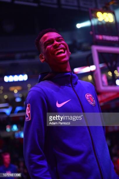 Shai GilgeousAlexander of the LA Clippers smiles before the game against the Toronto Raptors on December 11 2018 at STAPLES Center in Los Angeles...