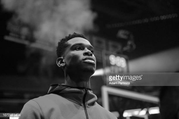 Shai GilgeousAlexander of the LA Clippers stands on the court for the National Anthem before the game against the Toronto Raptors on December 11 2018...