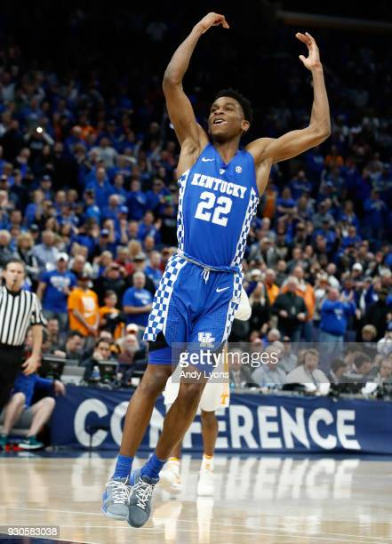 Shai GilgeousAlexander of the Kentucky Wildcats celebrates after the 7772 victory against the Tennessee Volunteers during the Championship game of...