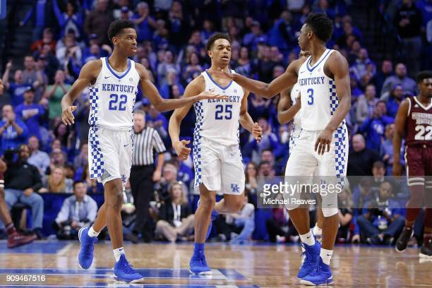 Shai GilgeousAlexander of the Kentucky Wildcats celebrates with Hamidou Diallo against the Mississippi State Bulldogs during the second half at Rupp...