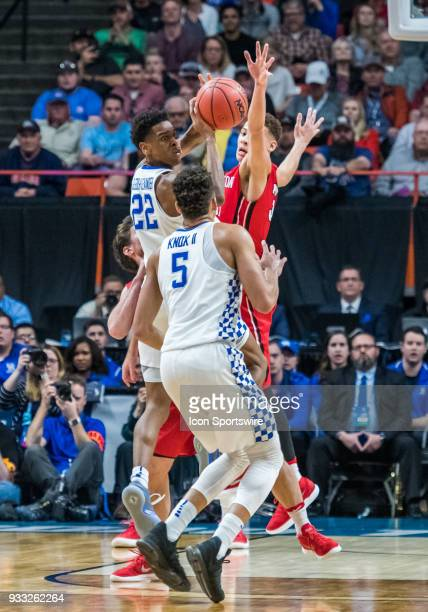 Shai GilgeousAlexander of the Kentucky Wildcats gets rid of the ball to F Kevin Knox of the Kentucky Wildcats during the NCAA Division I Men's...