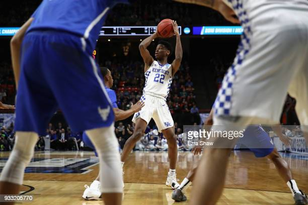 Shai GilgeousAlexander of the Kentucky Wildcats handles the ball during the first half against the Buffalo Bulls in the second round of the 2018 NCAA...