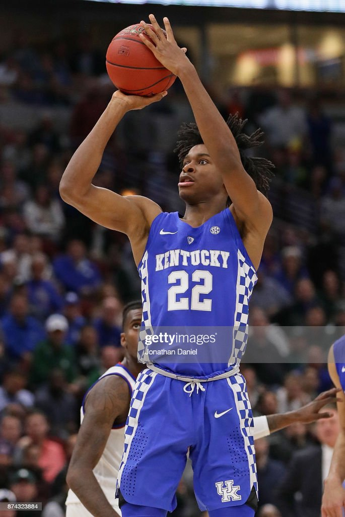 Shai Gilgeous-Alexander #22 of the Kentucky Wildcats puts up a shot against the Kansas Jayhawks during the State Farm Champions Classic at the United Center on November 14, 2017 in Chicago, Illinois. Kansas defeated Kentucky 65-61.