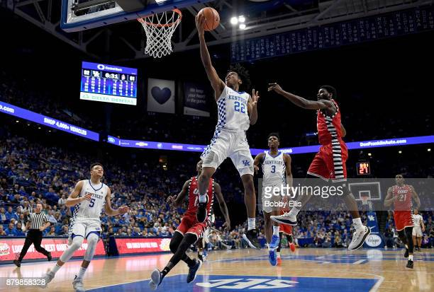 Shai GilgeousAlexander of the Kentucky Wildcats shoots a layup during the second half of the game between the Kentucky Wildcats and the...