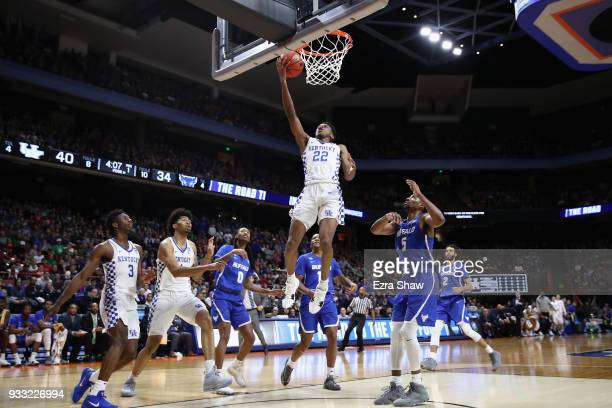 Shai GilgeousAlexander of the Kentucky Wildcats shoots the ball during the first half against the Buffalo Bulls in the second round of the 2018 NCAA...