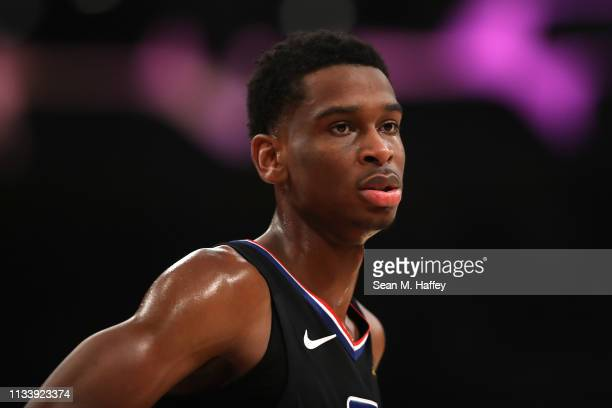 Shai GilgeousAlexander of the Los Angeles Clippers looks on during the first half of a game against the Los Angeles Lakersat Staples Center on March...