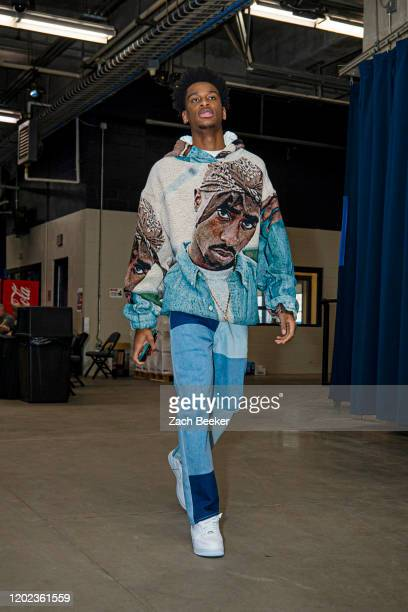 Shai Gilgeous-Alexander of the Oklahoma City Thunder arrives for the game against the Denver Nuggets on February 21, 2020 at Chesapeake Energy Arena...
