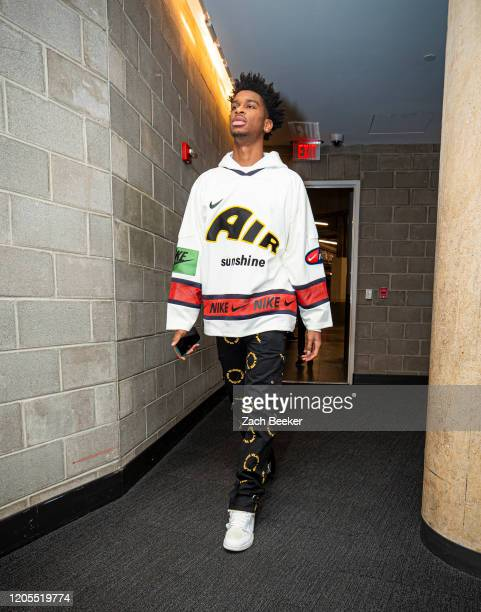 Shai Gilgeous-Alexander of the Oklahoma City Thunder arrives to the game against the Detroit Pistons on March 4, 2020 at Little Caesars Arena in...