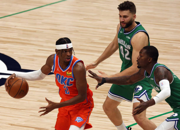 Shai Gilgeous-Alexander of the Oklahoma City Thunder at American Airlines Center on March 03, 2021 in Dallas, Texas. NOTE TO USER: User expressly...