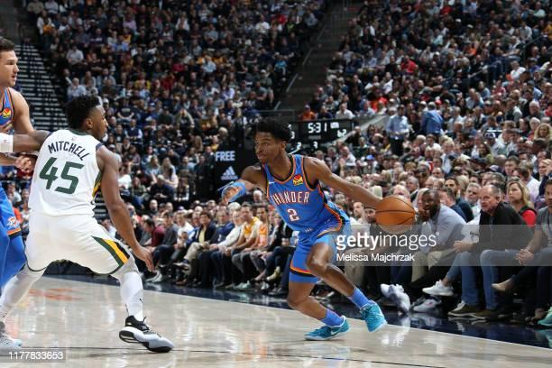 Shai GilgeousAlexander of the Oklahoma City Thunder handles the ball against the Utah Jazz on October 23 2019 at Vivint Smart Home Arena in Salt Lake...