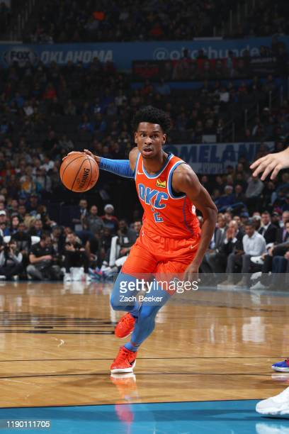 Shai Gilgeous-Alexander of the Oklahoma City Thunder handles the ball against the LA Clippers on December 22, 2018 at Chesapeake Energy Arena in...