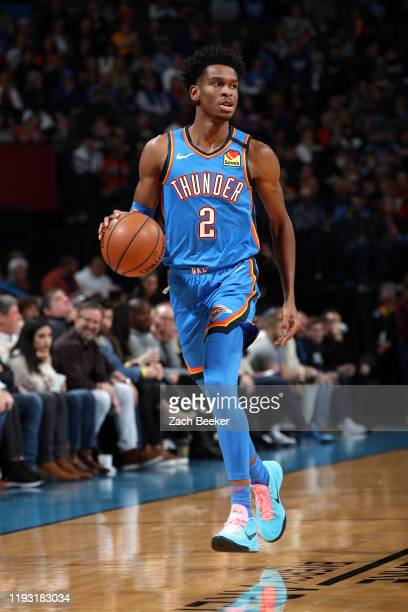 Shai Gilgeous-Alexander of the Oklahoma City Thunder handles the ball against the Los Angeles Lakers on January 11, 2020 at Chesapeake Energy Arena...