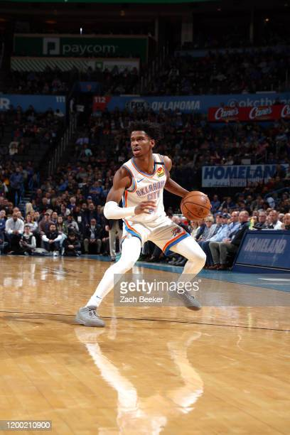 Shai Gilgeous-Alexander of the Oklahoma City Thunder handles the ball during the game against the San Antonio Spurs on February 11, 2020 at...