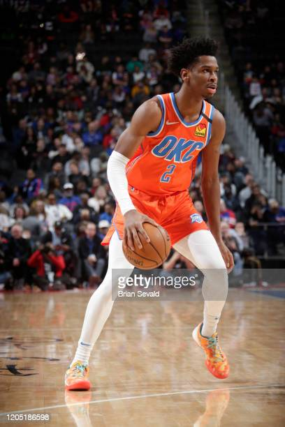 Shai Gilgeous-Alexander of the Oklahoma City Thunder handles the ball against the Detroit Pistons on March 4, 2020 at Little Caesars Arena in...