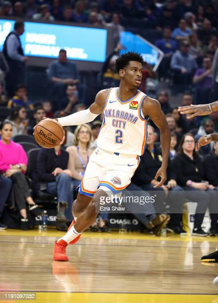 Shai Gilgeous-Alexander of the Oklahoma City Thunder in action against the Golden State Warriors at Chase Center on November 25, 2019 in San...
