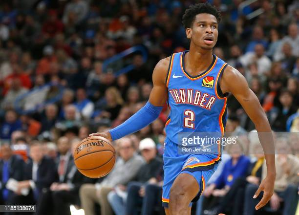 Shai Gilgeous-Alexander of the Oklahoma City Thunder looks on against the New Orleans Pelicans during the first half at Chesapeake Energy Arena on...