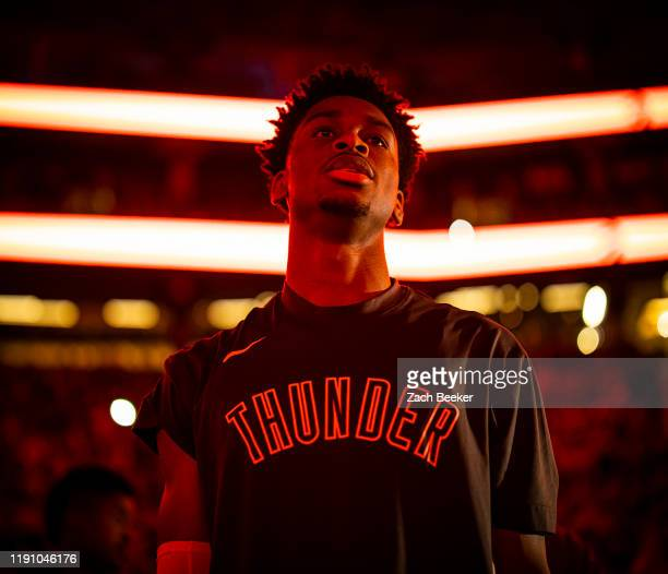 Shai Gilgeous-Alexander of the Oklahoma City Thunder looks on before the game against the Toronto Raptors on December 29, 2019 at the Scotiabank...