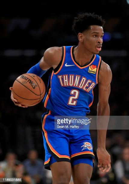 Shai Gilgeous-Alexander of the Oklahoma City Thunder looks on during the first half of a game against the Los Angeles Lakers at Staples Center on...