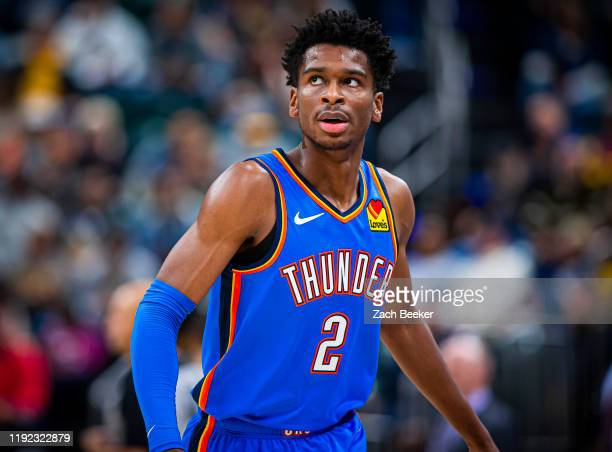 Shai Gilgeous-Alexander of the Oklahoma City Thunder looks on during the game against the Indiana Pacers on November 12, 2019 at Chesapeake Energy...