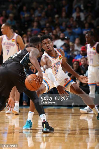 Shai Gilgeous-Alexander of the Oklahoma City Thunder plays defense against the New Zealand Breakers during the preseason on October 10, 2019 at...
