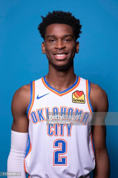 Shai Gilgeous-Alexander of the Oklahoma City Thunder poses for a head shot during media day on September 30, 2019 at Chesapeake Energy Arena in...
