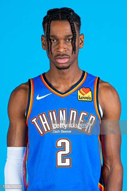 Shai Gilgeous-Alexander of the Oklahoma City Thunder poses for a head shot during Team Content Day on December 17th at Chesapeake Energy Arena in...