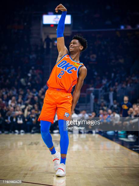 Shai Gilgeous-Alexander of the Oklahoma City Thunder reacts to a play during the game against the Cleveland Cavaliers on January 4, 2020 at Rocket...