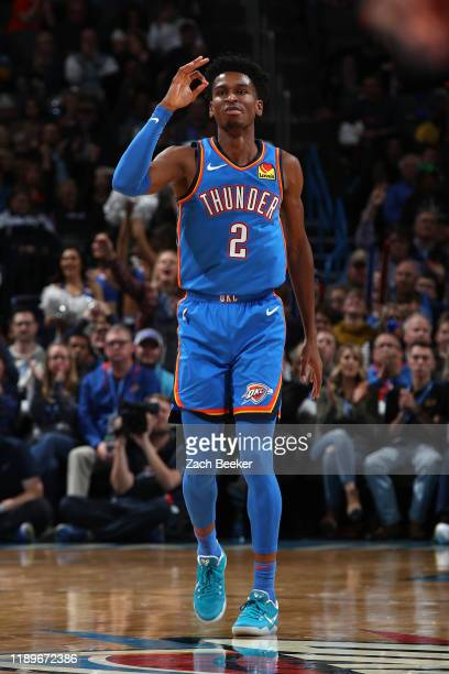 Shai Gilgeous-Alexander of the Oklahoma City Thunder reacts to play against the Phoenix Suns on December 20, 2019 at Chesapeake Energy Arena in...