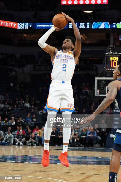 Shai Gilgeous-Alexander of the Oklahoma City Thunder shoots the ball against the Minnesota Timberwolves on January 13, 2020 at Target Center in...