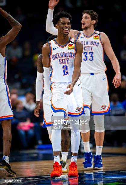 Shai Gilgeous-Alexander of the Oklahoma City Thunder smiles and walks up court against the Minnesota Timberwolves on January 13, 2020 at Target...