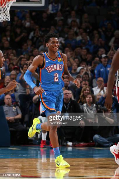 Shai GilgeousAlexander of the Oklahoma City Thunder smiles during a game against the Washington Wizards on October 25 2019 at Chesapeake Energy Arena...