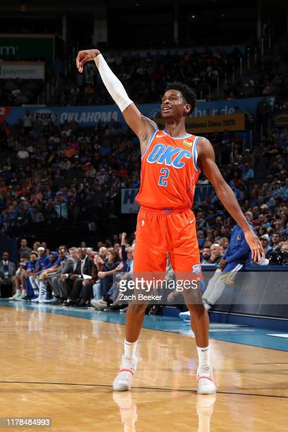 Shai Gilgeous-Alexander of the Oklahoma City Thunder smiles during the game against the Golden State Warriors on October 27, 2019 at Chesapeake...