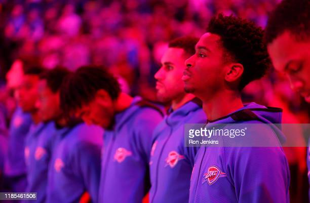 Shai Gilgeous-Alexander of the Oklahoma City Thunder stands during the National Anthem before playing the New Orleans Pelicans at Chesapeake Energy...