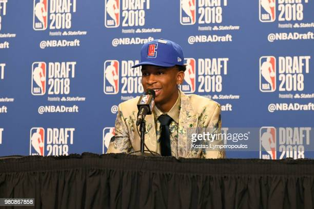 Shai GilgeousAlexander speaks to the media after being selected eleventh overall at the 2018 NBA Draft on June 21 2018 at the Barclays Center in...