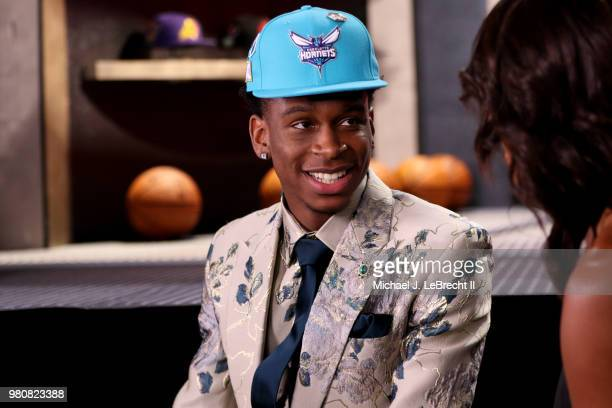 Shai GilgeousAlexander talks to the media after being selected eleventh by the Charlotte Hornets on June 21 2018 at Barclays Center during the 2018...