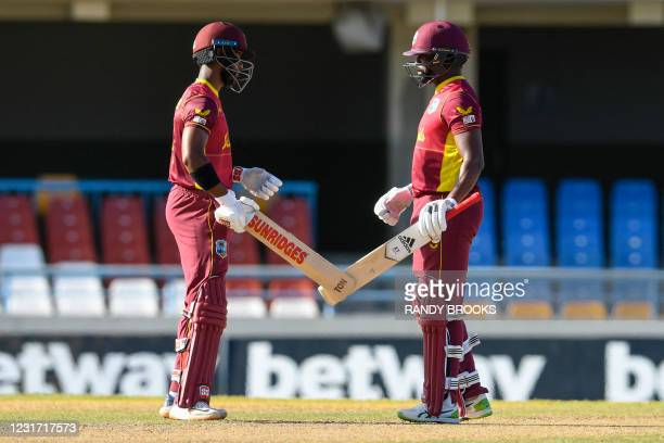 Shai Hope and Darren Bravo of West Indies 100 runs partnership during the 3rd and final ODI match between West Indies and Sri Lanka at Vivian...