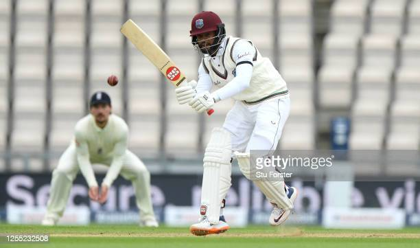 Shai Hope of the West Indies bats during day two of the 1st #RaiseTheBat Test match at The Ageas Bowl on July 09 2020 in Southampton England