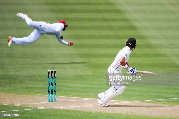 Shai Hope of the west Indies catches Neil Wagner of New Zealand out during day two of the Second Test Match between New Zealand and the West Indies...