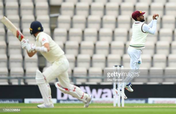 Shai Hope of the West Indies catches out Mark Wood of England during day two of the 1st #RaiseTheBat Test match at The Ageas Bowl on July 09 2020 in...