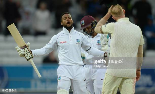 Shai Hope of the West Indies celebrates after hitting the winning runs of the 2nd Investec Test match between England and the West Indies at...