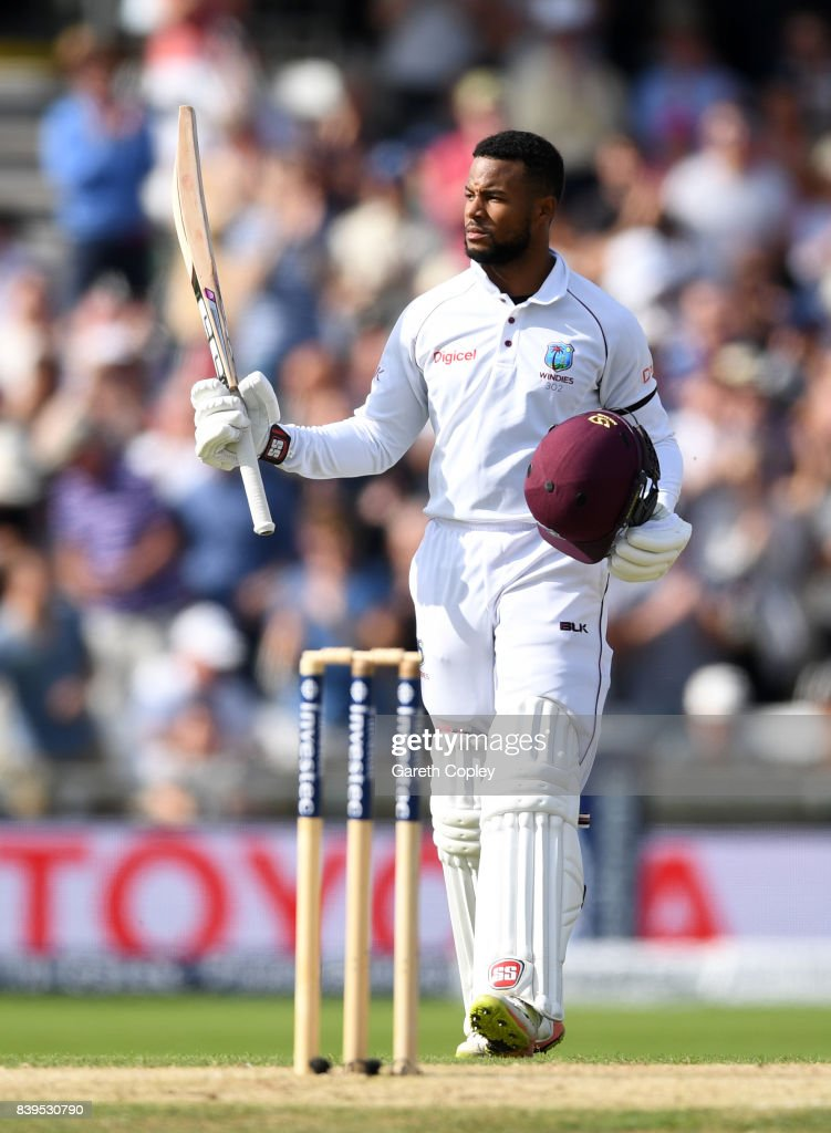 Shai Hope of the West Indies celebrates reaching his century during day two of the 2nd Investec Test between England and the West Indies at Headingley on August 26, 2017 in Leeds, England.